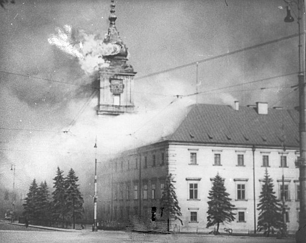 Royal Castle at Warsaw on fire