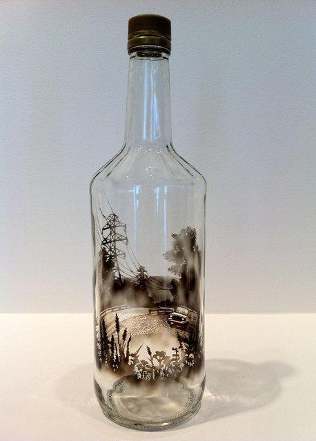 Smoky bottle scene with wires